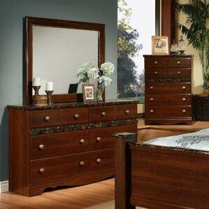 Camden 6 Drawer Double Dresser with Mirror by Sandberg Furniture