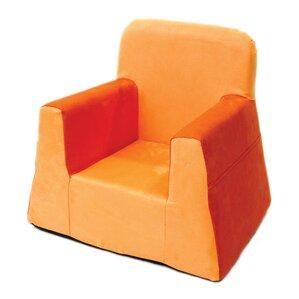Little Reader Box Cushion Armchair Slipcover. Orange Red Blue