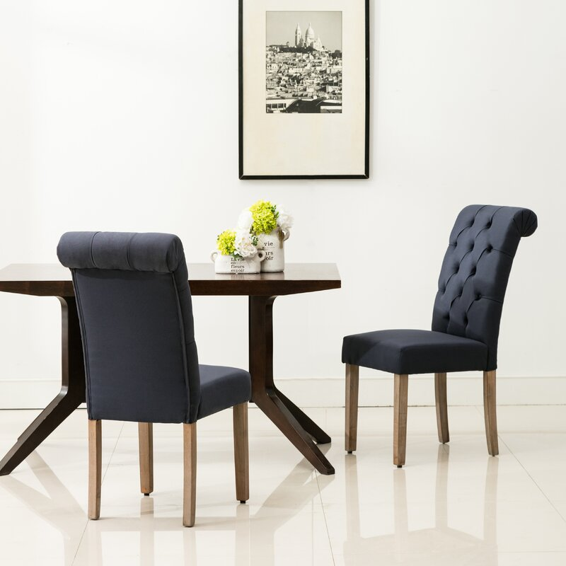 christies roll top tufted modern upholstered dining chair reviews birch lane. Black Bedroom Furniture Sets. Home Design Ideas