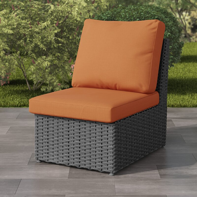 Killingworth Weather Resistant Resin Wicker Armless Patio Chair With Cushions