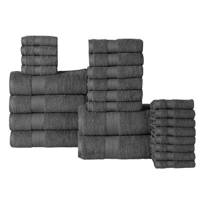 The Twillery Co. Arias 24 Piece 100% Cotton Towel Set Color: Gray