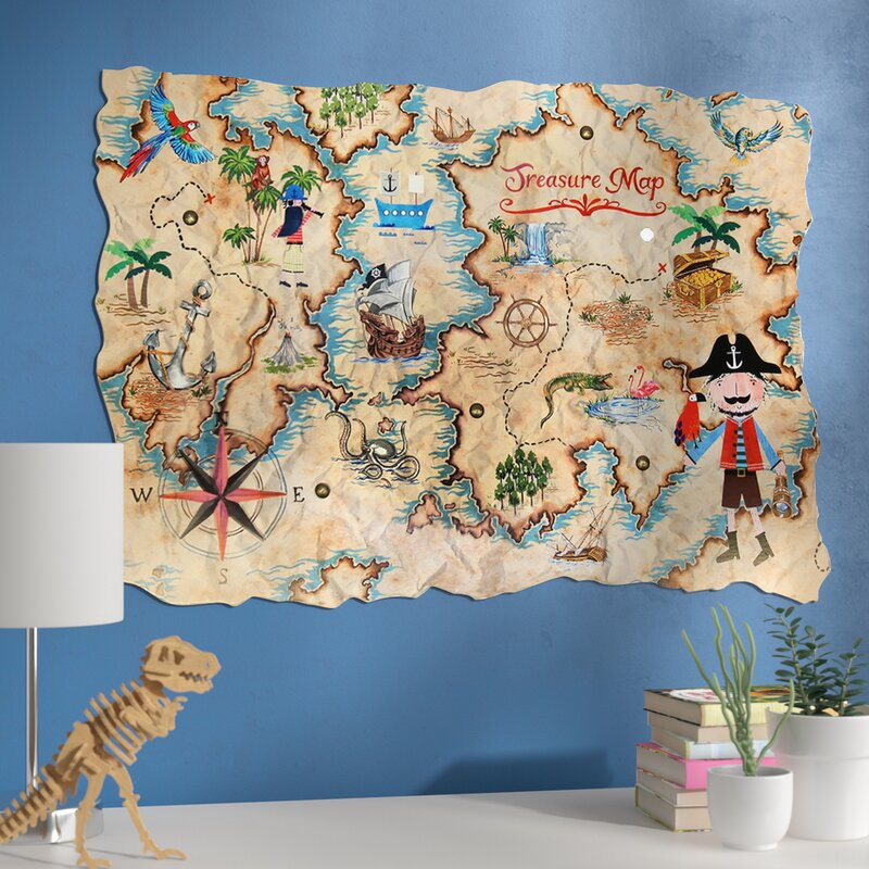 Zoomie Kids Amie Pirates Ahoy Treasure Map Wall Hanging