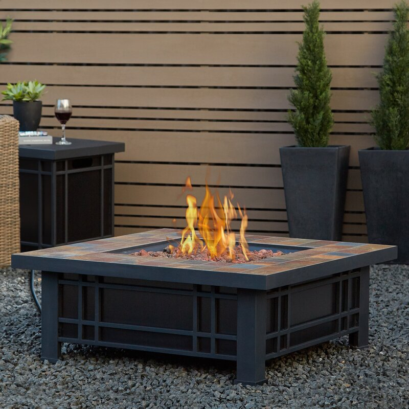 Marvelous Real Flame Morrison Stainless Steel Propane Fire Pit Table