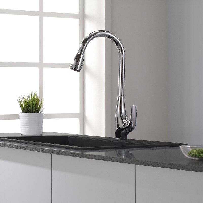kraus high arch single handle pull down kitchen faucet with dual