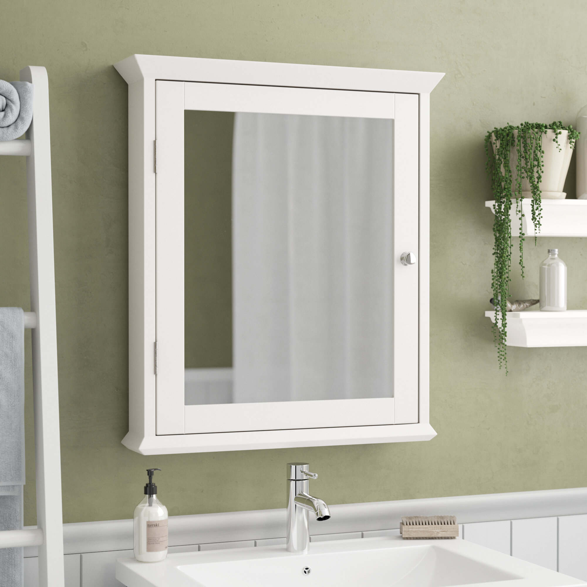 "Wall Mounted Medicine Cabinet Mirror charlton home lance 22"" x 25"" surface mount medicine cabinet"