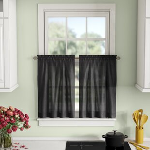 Black Valances & Kitchen Curtains You'll | Wayfair on