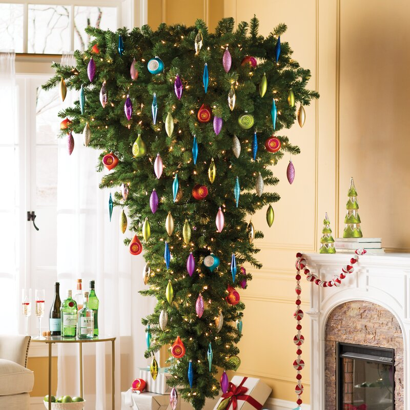 the holiday aisle 75 green upside down artificial christmas tree with clear light reviews wayfair - Unique Artificial Christmas Trees