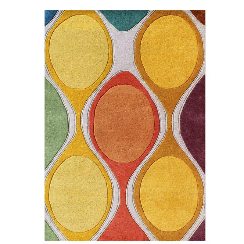 Gilland Modern Hand Tufted Wool Yellow Area Rug