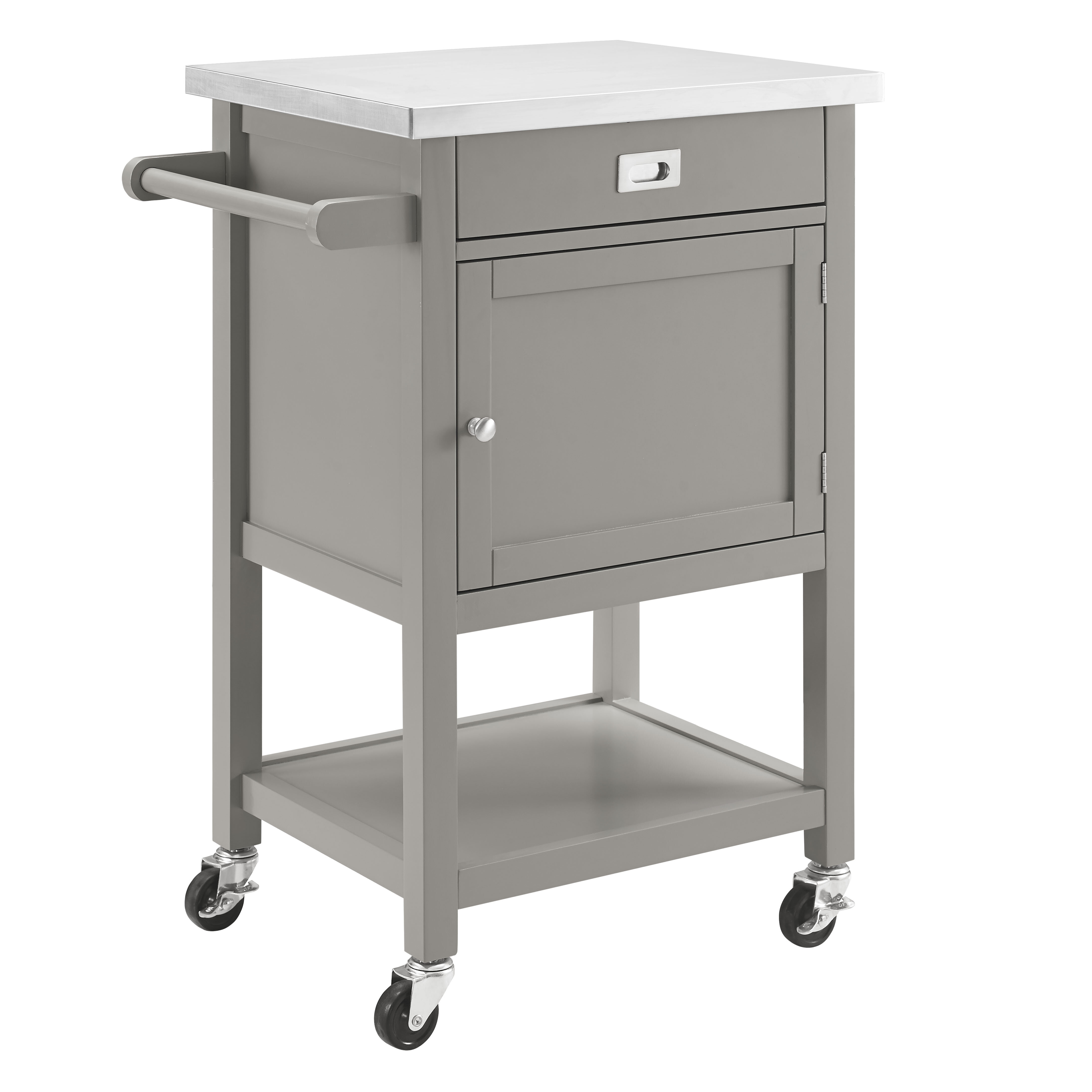 Willa Arlo Interiors Eira Kitchen Cart With Stainless Steel Top Reviews Wayfair