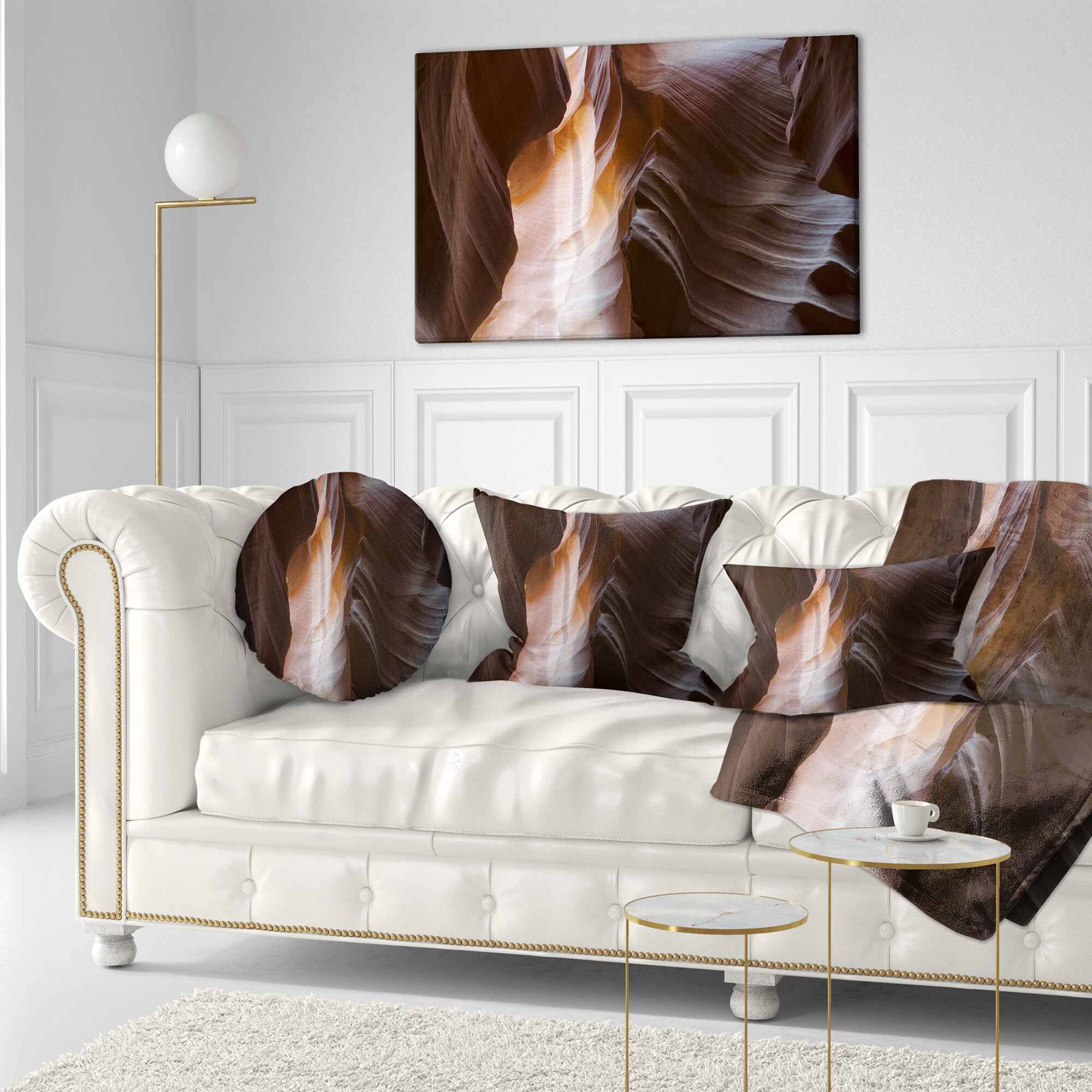 East Urban Home Designart Brown Antelope Canyon Landscape Photography Throw