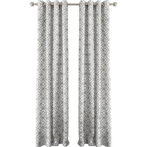 Crackle Geometric Room Darkening Grommet Single Curtain Panel