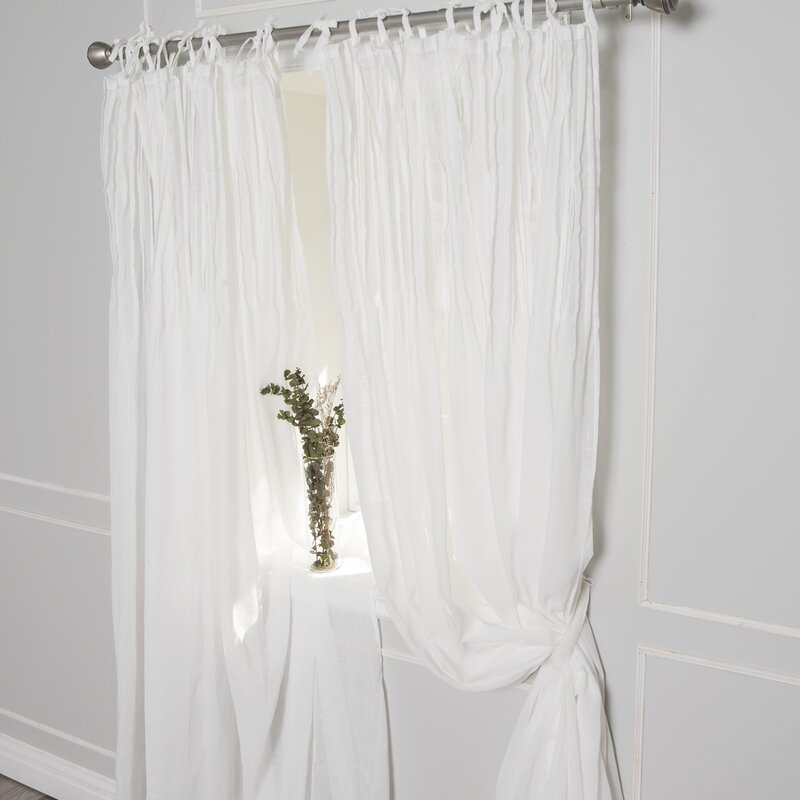 Poivree Solid Sheer Pinch Pleat Single Curtain Panel
