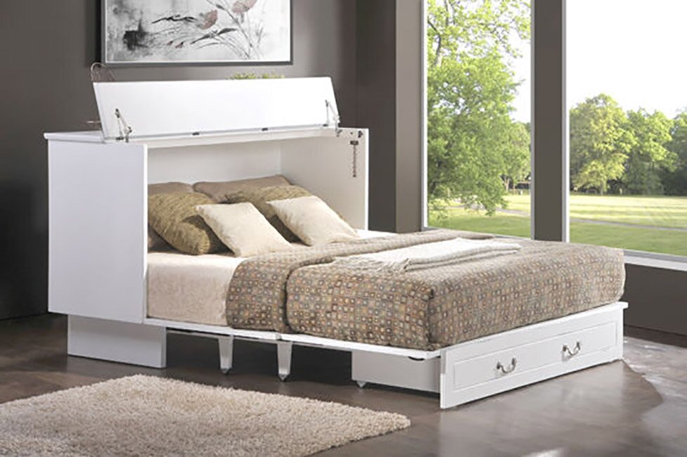 emma queen storage murphy bed with mattress - Murphy Bed Frame