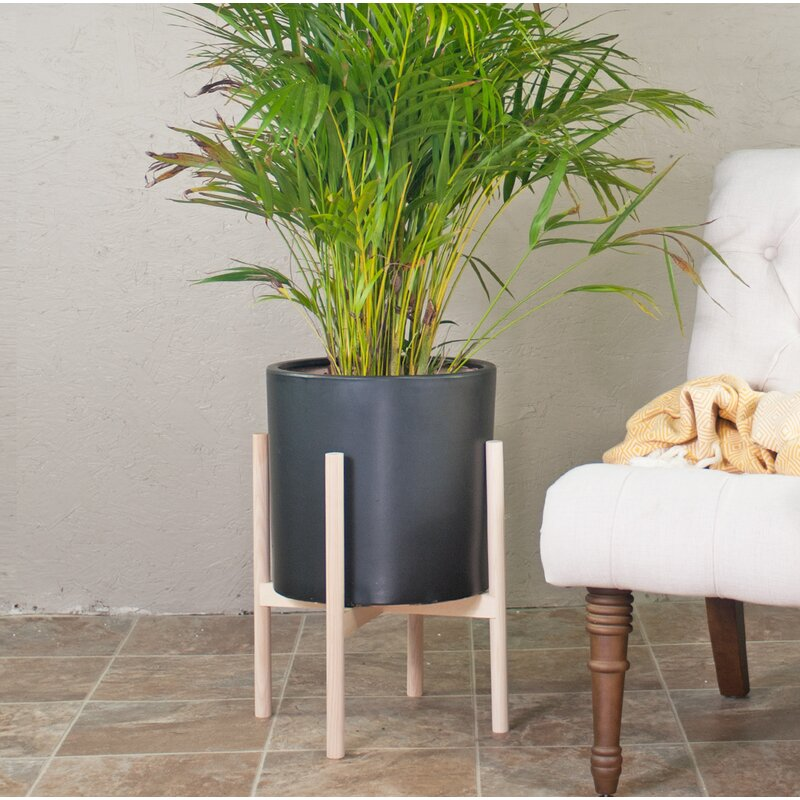 Brantner Ceramic Pot Planter with Plant Stand Color: Black