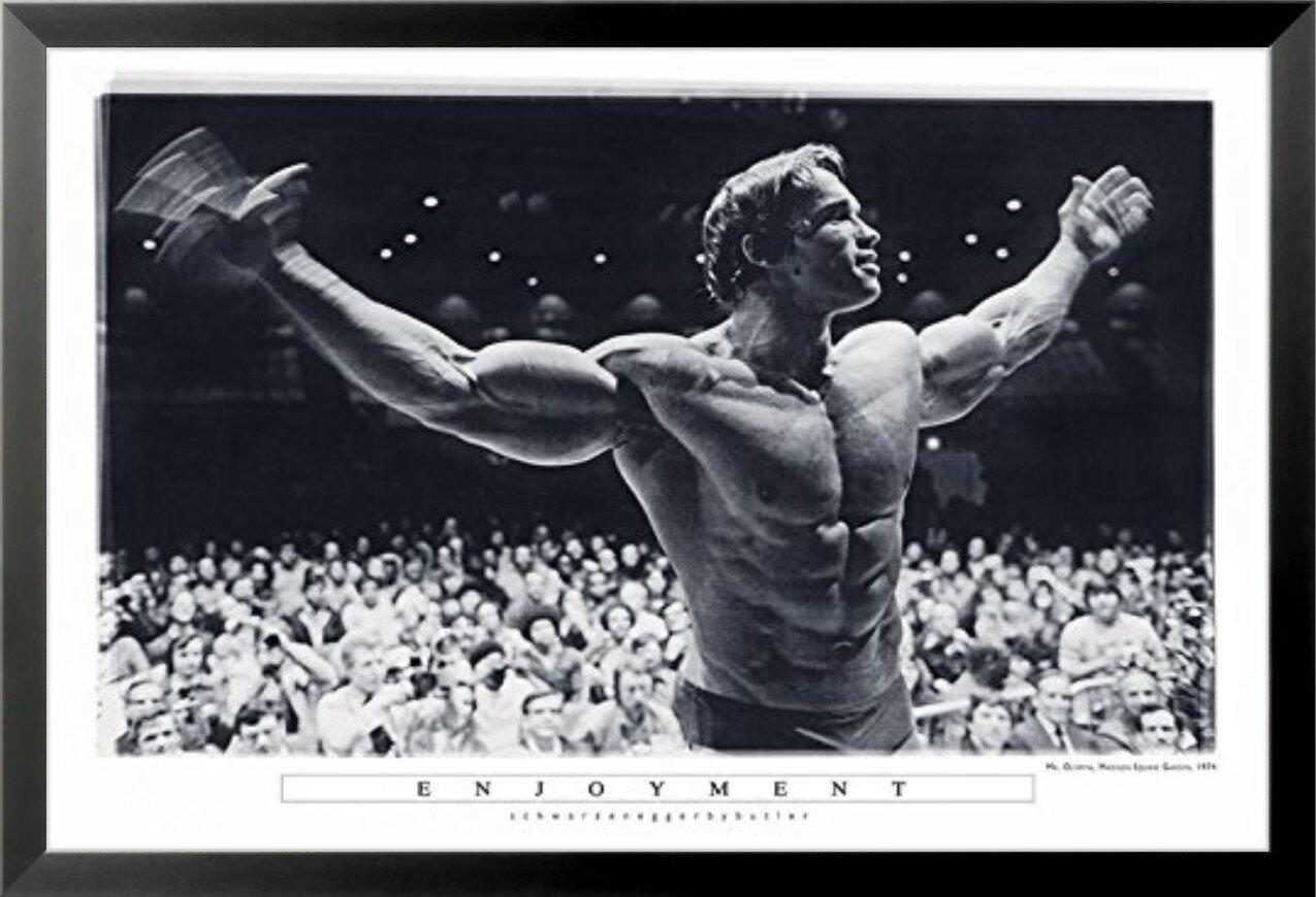 'Enjoyment - Arnold Schwarzenegger Mr  Olympia Madison Square Garden -  Pumping Iron' Framed Photographic Print