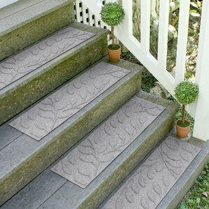 bilmont medium gray brittany leaf stair tread set of 4