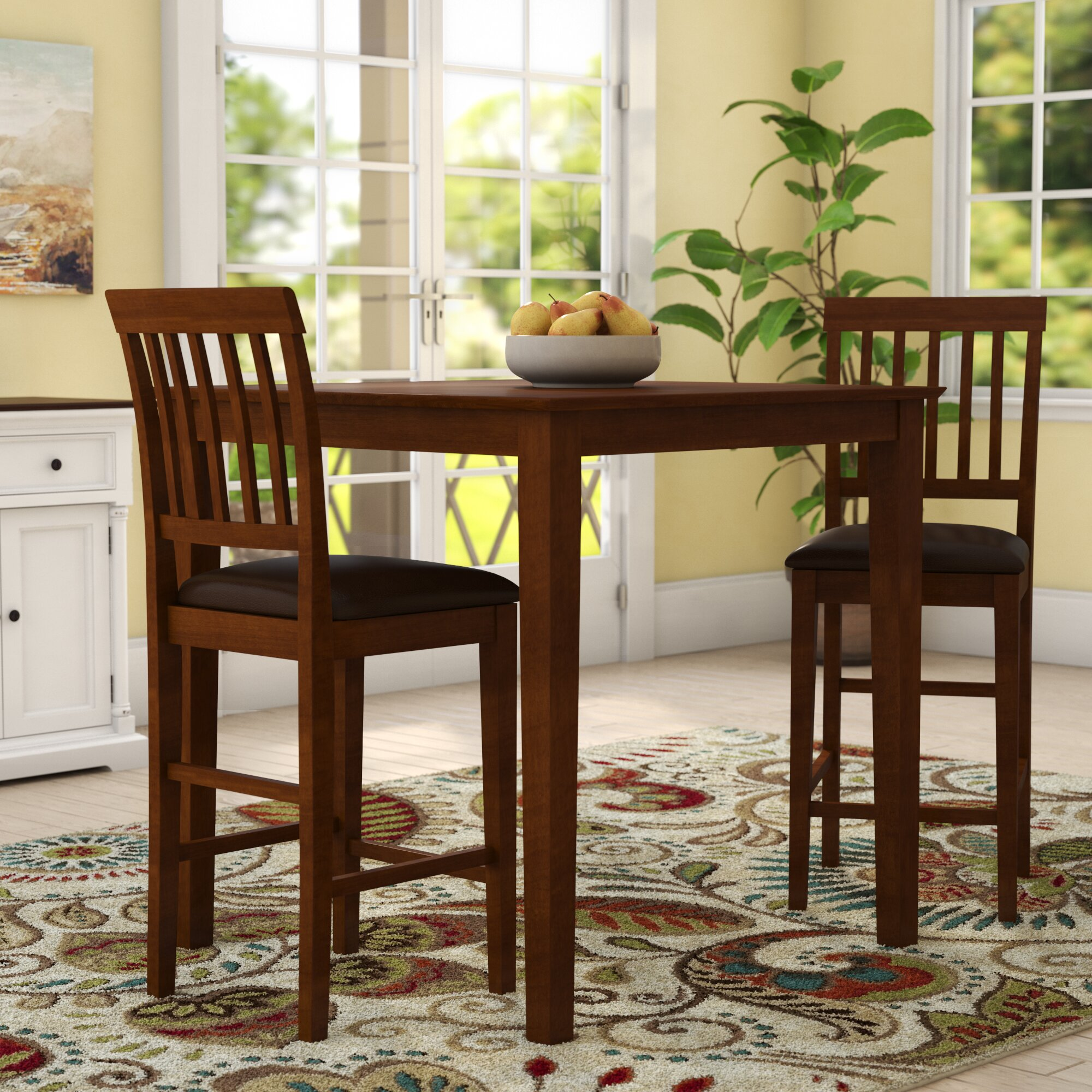 Charmant Quinlan Traditional 3 Piece Counter Height Bistro Set