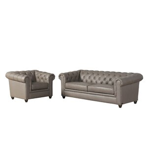 Andria 2 Piece Leather Chesterfield Living R..