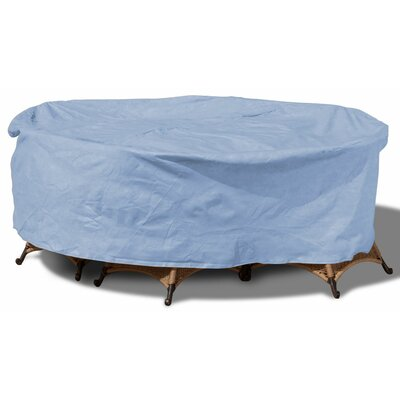 Freeport Park Aaden Round Patio Table and Chairs Combo Cover Color: Blue, Size: 112 W x 112 D, Material: Polypropylene