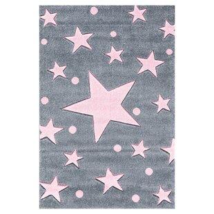 Stars Silver-Grey/Pink Rug by Livone