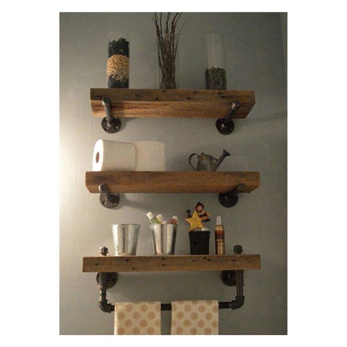 Delightful Borrero Industrial Pipe Accent Wall Shelf