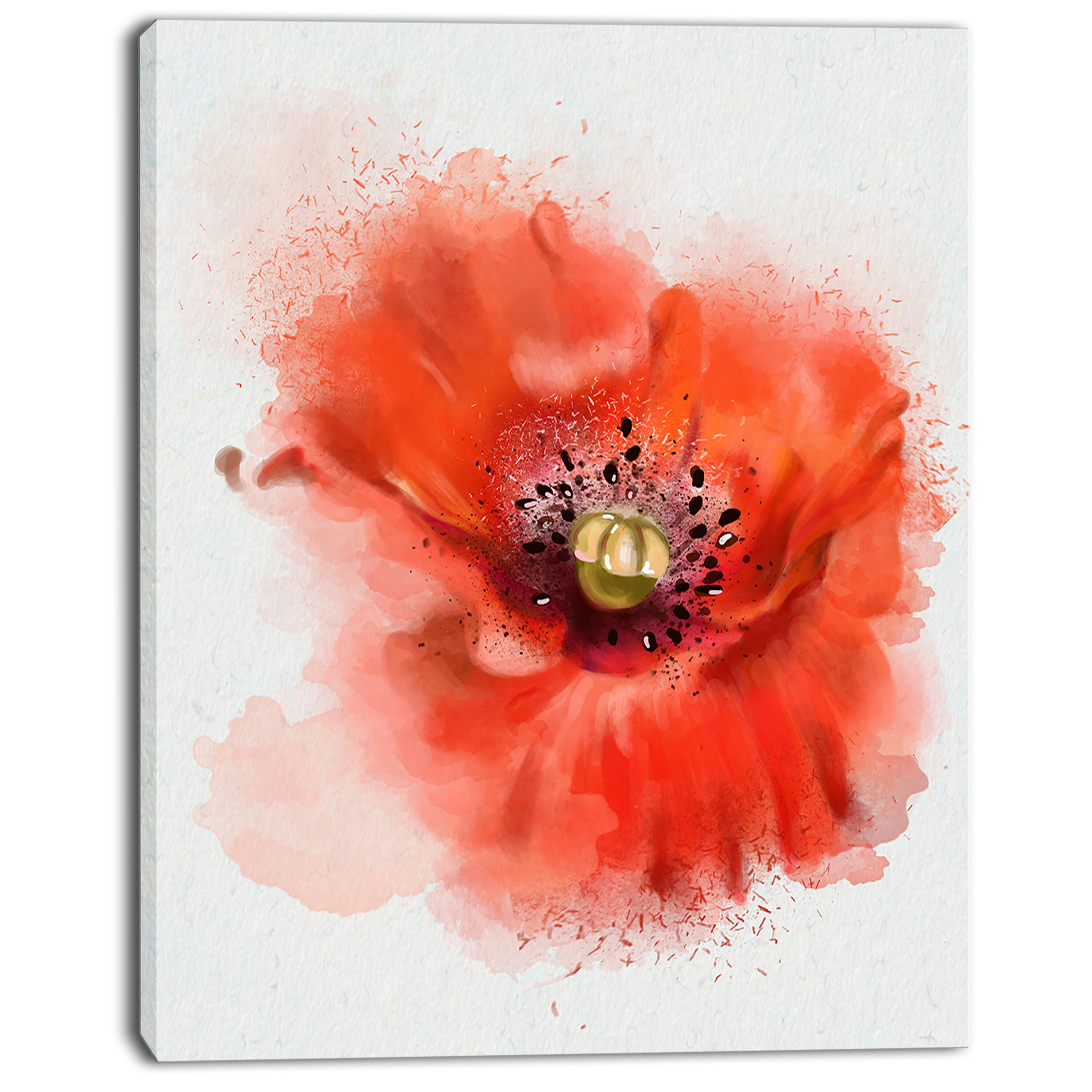 Designart Stylish Red Watercolor Poppy Flower Painting Print On Wred Canvas Wayfair