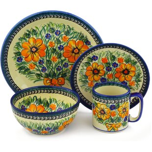 Flower Polish Pottery 4 Piece Place Setting Service for 1  sc 1 st  Wayfair & Polish Pottery Dinnerware | Wayfair