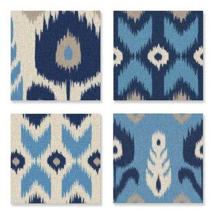 Alternating Ikat Design 4 Piece Canvas Wall Art Set
