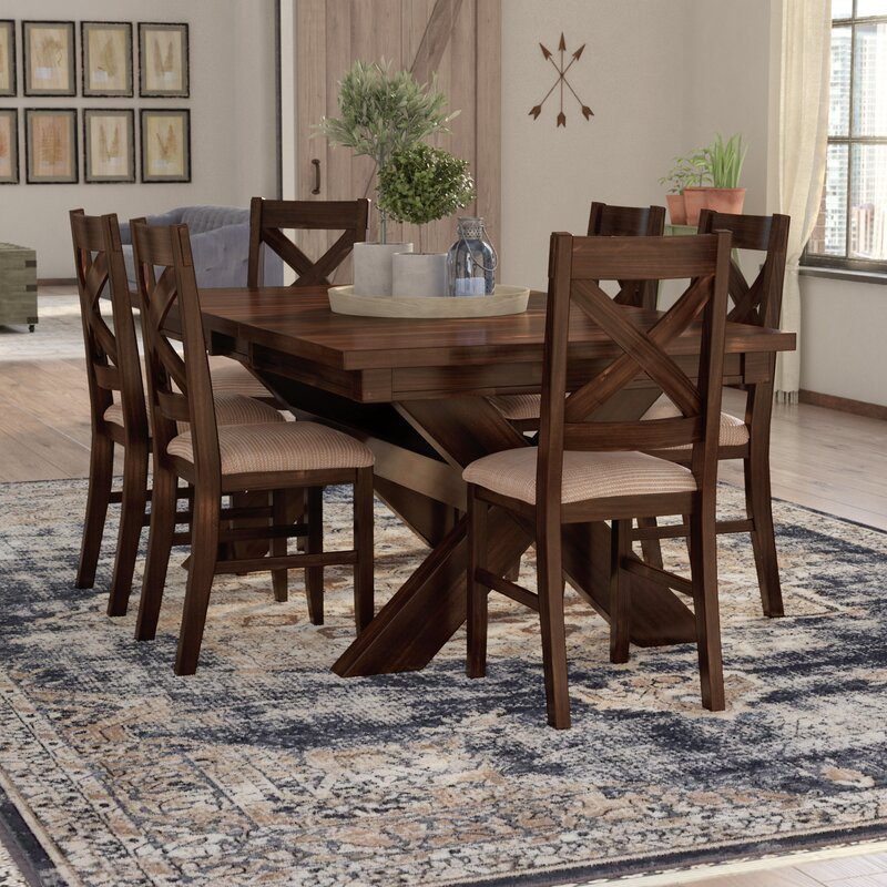 Wooden Dinette Sets: Laurel Foundry Modern Farmhouse Isabell 7 Piece Solid Wood