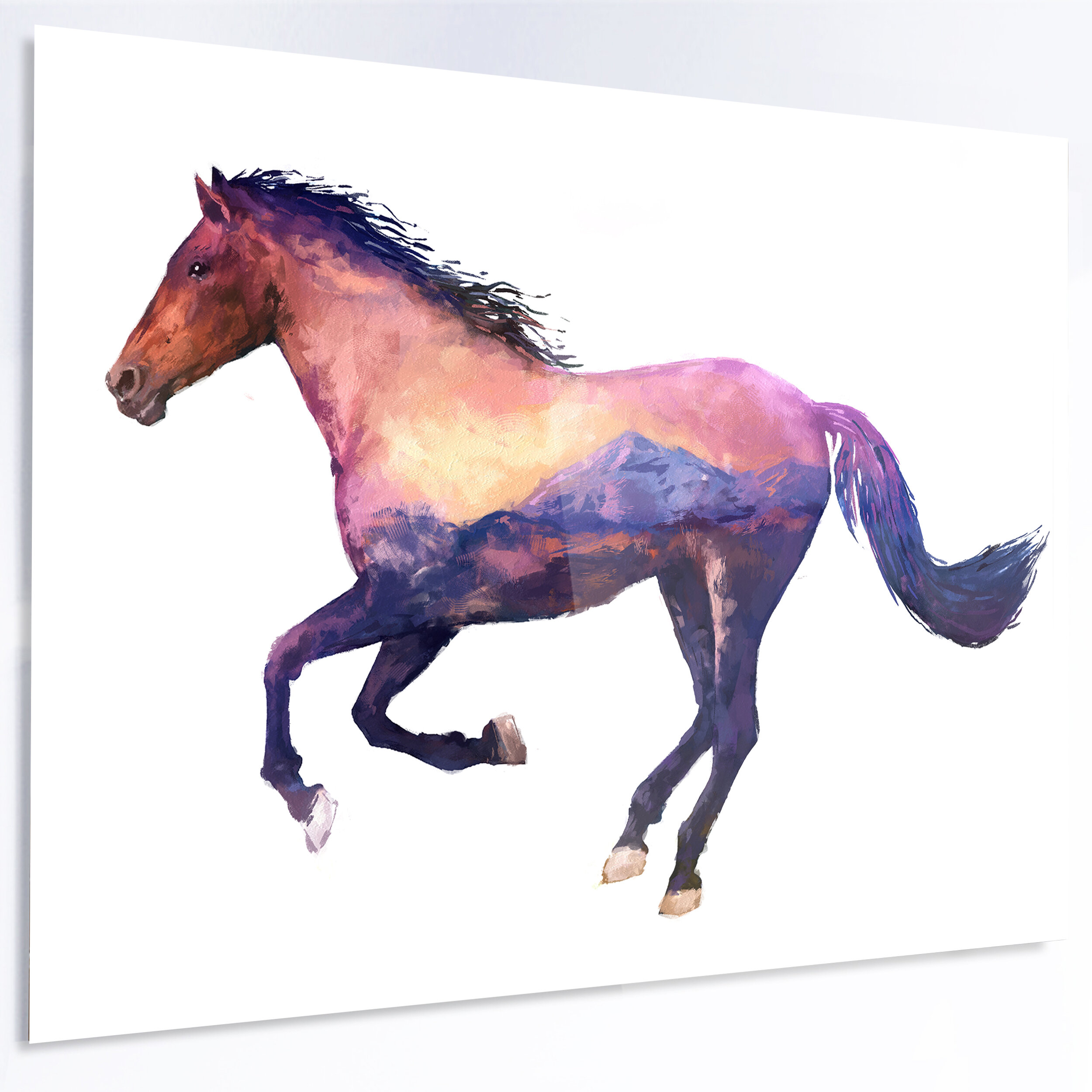 Horse Double Exposure Illustration Graphic Art On Metal