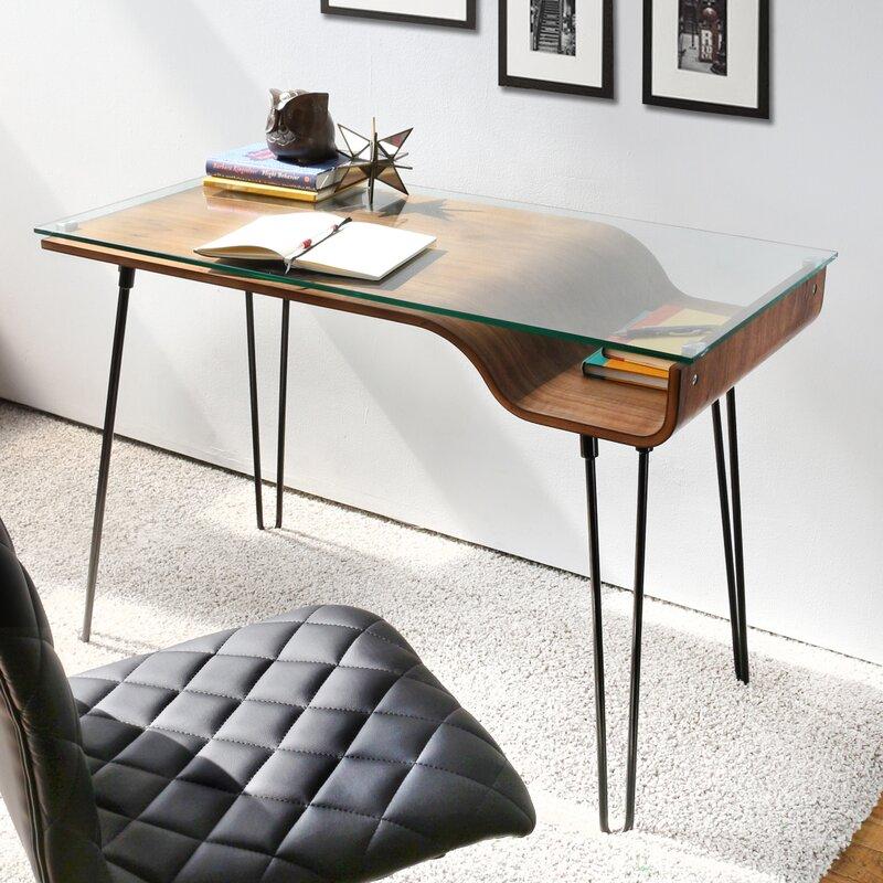 Wade Logan Haysville Glass Writing Desk