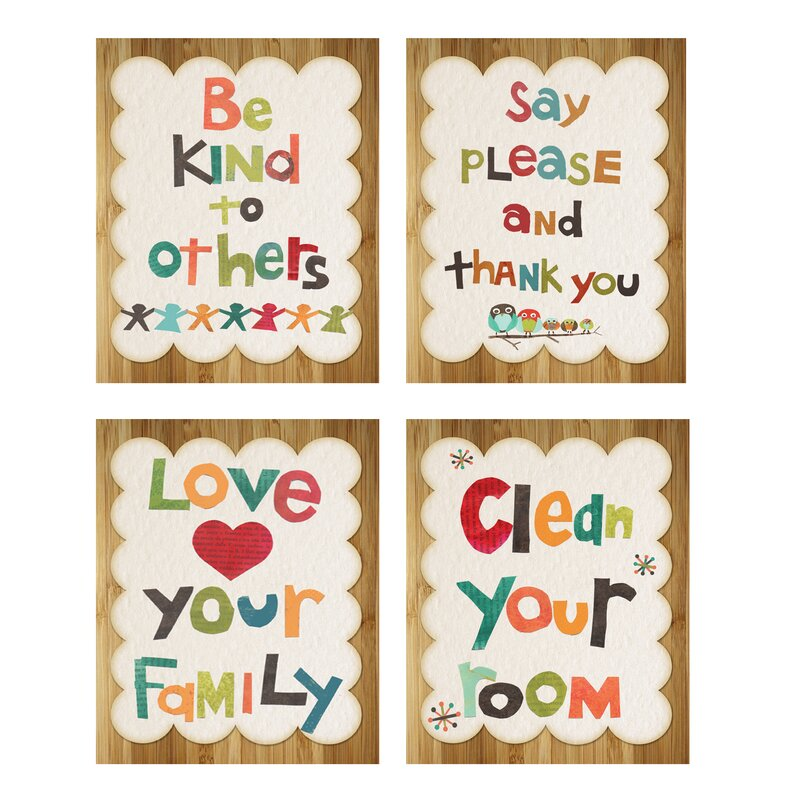 Children Inspire Design 4 Piece Good Manners Print Children\'s Wall ...
