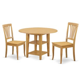 Tyshawn 3 Piece Drop Leaf Breakfast Nook Solid Wood Dining Set Amazing