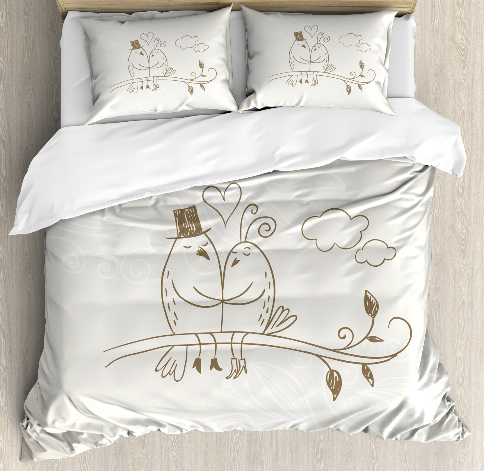 Ambesonne Wedding Decorations Romantic Hand Drawing Of A Two Birds