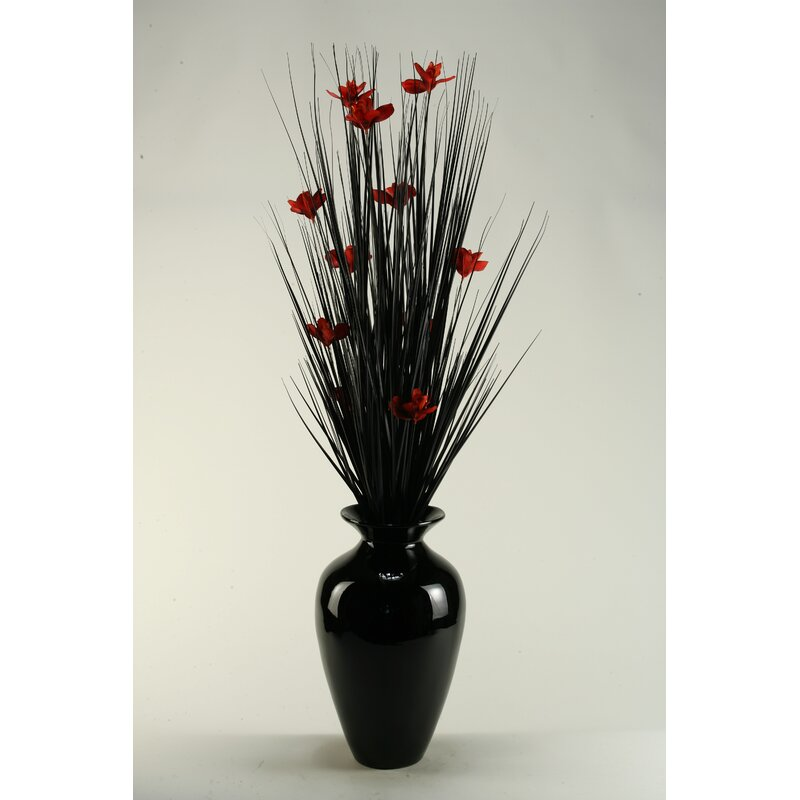 D W Silks Black Ting With Red Blossoms In Black Spun Bamboo Vase