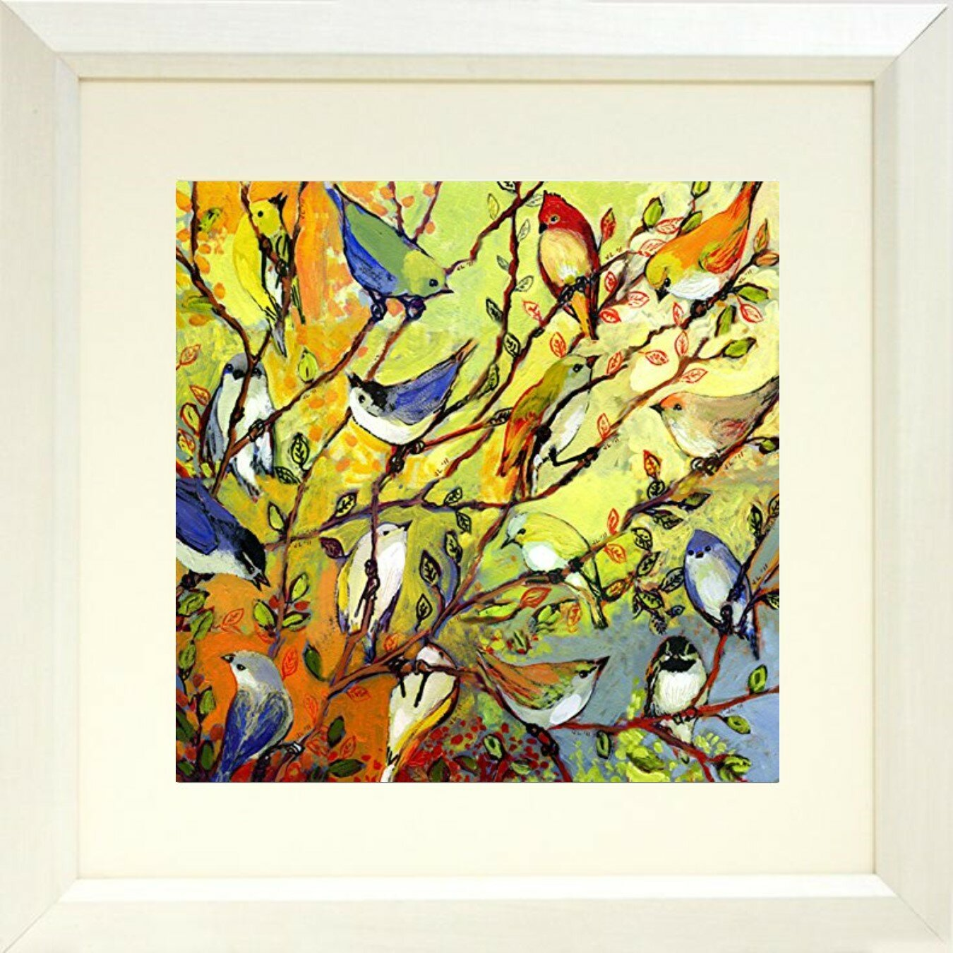 Buy Art For Less \'Birds on Tree Branches\' by Jennifer Lommers Framed ...