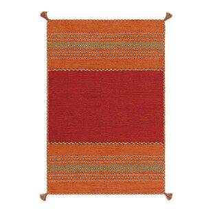 Navarro Handwoven Flatweave Cotton Red/Orange Rug by Kayoom