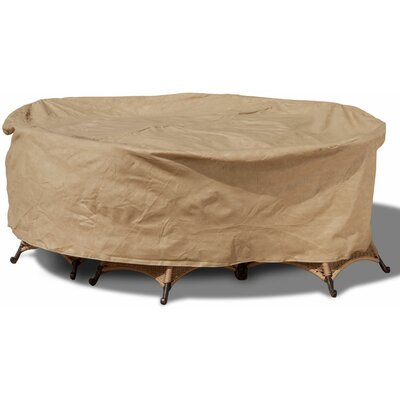Freeport Park Aaden Round Patio Table and Chairs Combo Cover Color: Tan, Size: Medium - 88 Diameter x 30 Drop, Material: Polyester