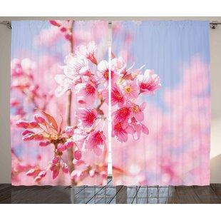 Cherry blossom curtains wayfair sakura blossom room darkening rod pocket curtain panels set of 2 mightylinksfo