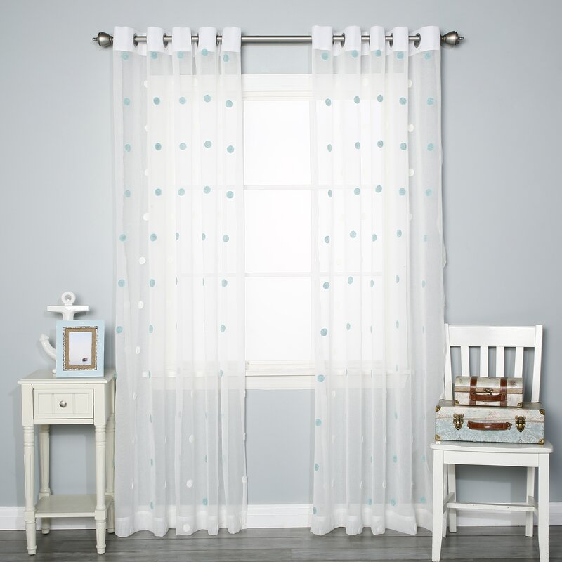 superior Polka Dot Curtains Panels Part - 8: Pom Pom Polka dots Sheer Grommet Curtain Panels