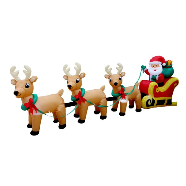 bzb goods christmas inflatable santa claus on sleigh with three reindeer decoration reviews wayfair
