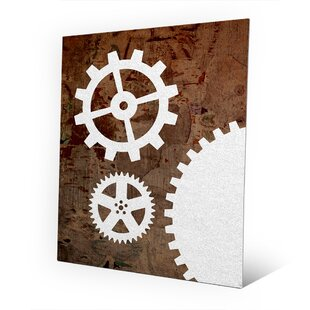 Metal Pristine Gears And Brown Grunge Graphic Art On Plaque