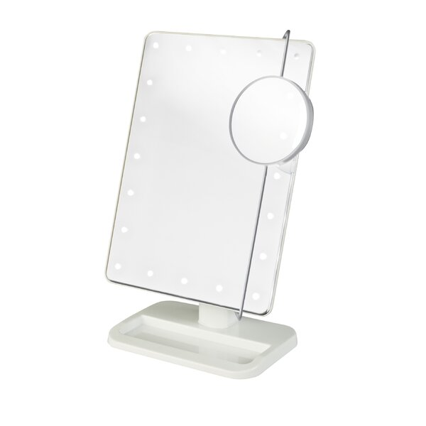 Rebrilliant Portable LED Lighted Rectangle Tabletop Makeup Mirror