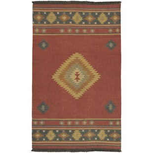 Double Mountain Hand Woven Red Rug