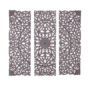3 Piece Wood Carved Wall Décor Set