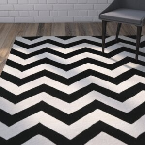 Bovee Chevron Ivory Black Area Rug