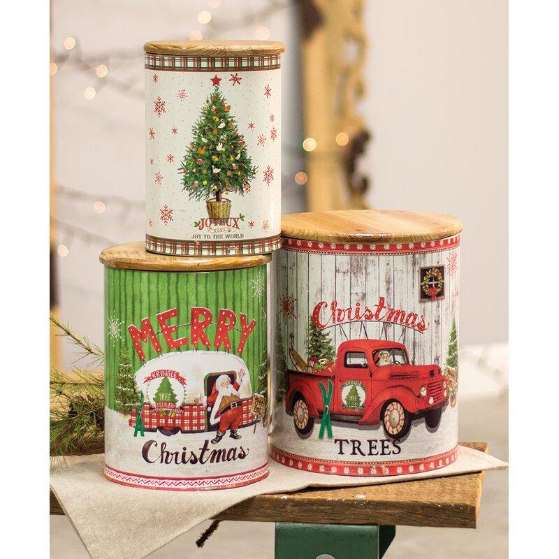 August Grove Vintage Christmas 3 Piece Kitchen Canister Set | Wayfair
