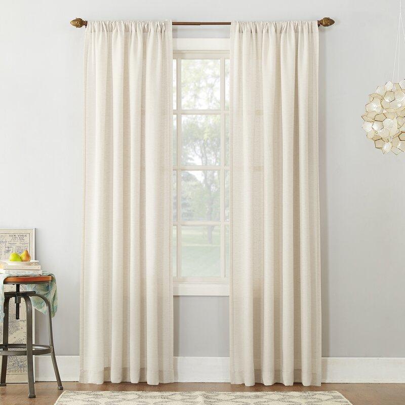 Semi Sheer Curtains For Kitchen Curtain Linen Textured: Berwick Textured Solid Semi-Sheer Rod Pocket Single