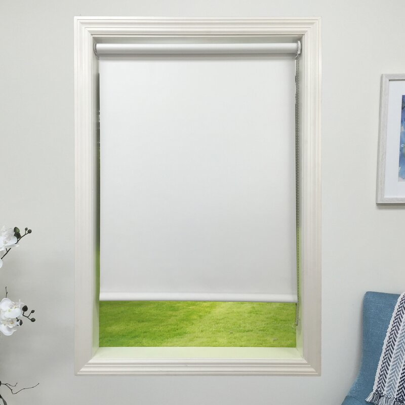 harbor shades blackout white roller shade reviews wayfair. Black Bedroom Furniture Sets. Home Design Ideas