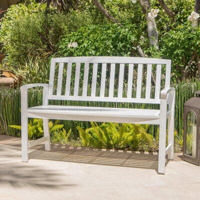Beachcrest Home Leora Acacia Wood Garden Bench Color: White